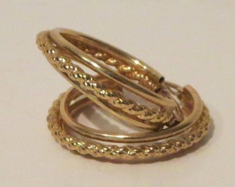 10K Gold Triple Hoop Earrings