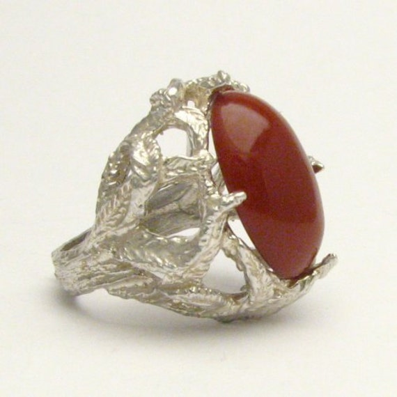 Handmade Solid Sterling Silver Red Jasper Cab Ring