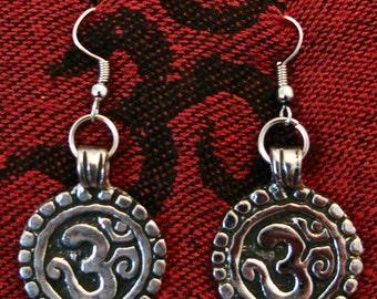 Nepalese Om earrings, Silver Om earrings, OM Peace earrings