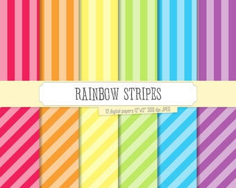 Rainbow Stripes Pattern Bright Pastel Digital Paper Pack