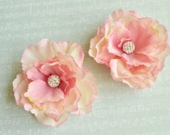 Blush bridal hair clip, Bridal hairpiece flower, Pink wedding flower, Bridesmaid hair piece, Bridal headpiece, Wedding wforals, Rhinestones
