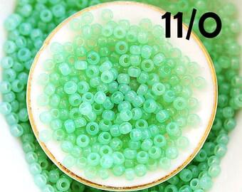 Seafoam green TOHO Seed beads, size 11/0, Milky Kiwi, N 1144, rocailles, mint beads - 10g - S249