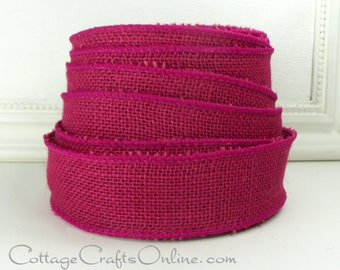 "Burlap Wired Ribbon, 1 1/2"", Fuchsia Pink Natural Jute - TWENTY FIVE Yard Roll - Offray Rustic Craft Wire Edged Burlap Ribbon"