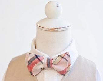 Bow Tie, Bow Ties, Boys Bow Ties, Baby Bow Ties, Bowtie, Bowties, Ring Bearer, Bow ties For Boys - Coral, Blush, Navy Organic Madras Plaid