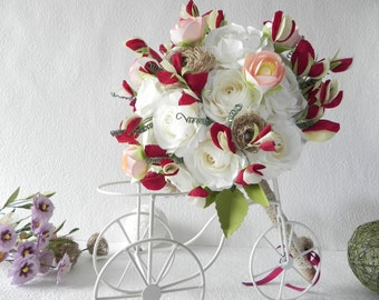 Sweet Pea Bridal Alternative Bouquet & Groom Boutonniere - Wedding Bouquet, Keepsake Bouquet, Rustic Bouquet, Bridal Bouquet, Bridesmaid
