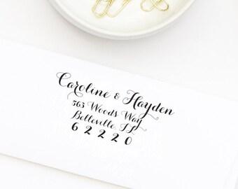 Return Address Stamp, Custom Return Address Stamp, Wedding Stamp, Self-Inking Address Stamp,  Calligraphy Address Stamp , Stamp Style No. 35