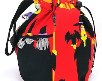 Sock Bag - Small Knitting Crochet Project Bag - Witchy Ghouls Squad