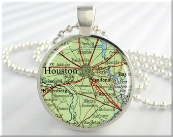 Houston Map Pendant, Resin Charm, Houston Texas Map Necklace, Picture Jewelry, Map Charm, Gift Under 20, Round Silver 455RS
