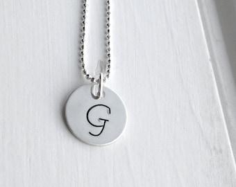 Sterling Silver Letter G Necklace, Letter G Jewelry, Initial Necklace, Initial Jewelry, Charm Necklace, Monogram Necklace, Initial Pendant