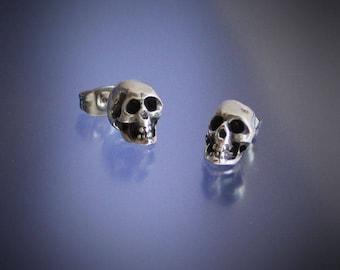 Skull Stud Earrings Sterling Silver