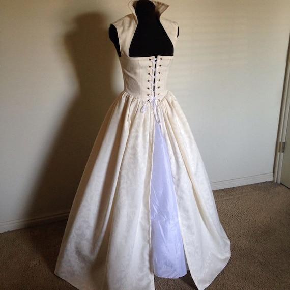 Celtic Wedding Dresses White Pale Blue Medieval Bridal: Off White Renaissance Wedding Irish Celtic Over Gown Dress