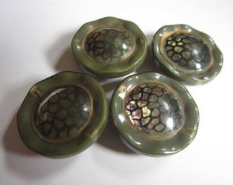 Vintage Unique Celluloid Buttons Green Black Set of 4 Four