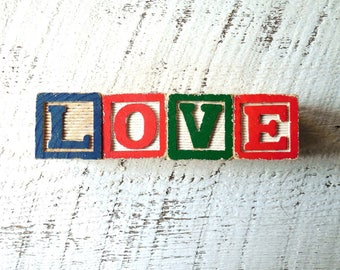 LOVE Wood Sign, Vintage Toy Letter Block Sign – Fused 3D Wooden Party & Wedding Table Sign , Holiday Ornament, Gift