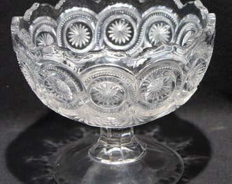 Antique Footed Dish, U. S. Glass Co., Star in Bullseye Pattern #15092