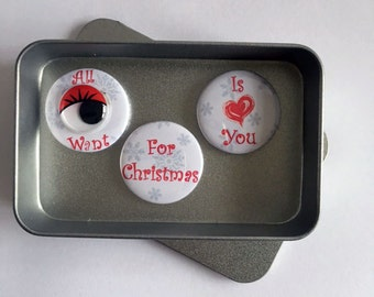Christmas Love All I Want For Christmas Is You Magnet Gift Set with gift tin Say It With Magnets. Perfect Stocking Filler Gift