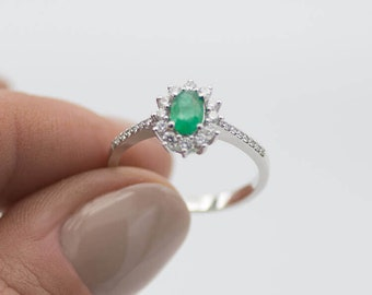 Emerald Ring I white gold 585 gold i 0.43 CT emerald, 0.29 ct brillant i engagement ring, ring