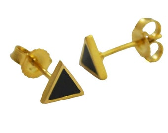 Mini Black and Gold Triangle Studs // Geometric + Pyramid Inspired Tiny Little Gold Earrings // Choose Your Accent Color