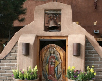 Door Photography, Our Lady Of Guadalupe Carved Door, Wall art, spiritual, carved, Santa Fe Style, flowers, rustic, adobe, saints