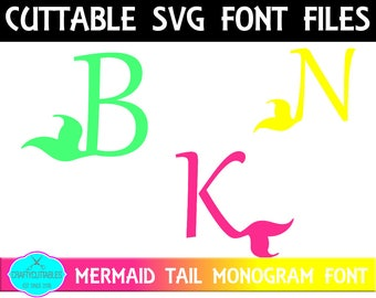 Mermaid Font SVG, PNG Files Silhouette Cameo and Cricut Files