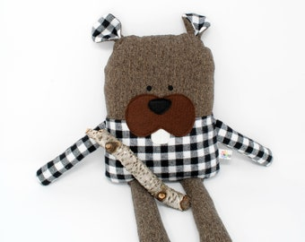 Beaver-Beaver Stuffed Animal-Beaver Plush-Beaver Softie-Beaver Lovey-UpCycled-Repurposed-Hand Sewn Toy-Beaver Toy-Buffalo Plaid-White Plaid