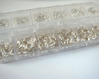 Silver Jump Rings Assortment Silver Plated Iron Not Soldered Boxed 4mm to 10mm - F4003JR-ASBS