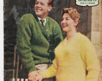 ON SALE Patons  Knitting Pattern No 576 For in Patons Mohair  (Vintage 1960s)Jumpers, Sweaters, Jackets, Cardigans, Stole, Hat, Scarf