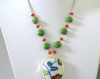 Garden Flower Pottery Shard Necklace Green Blue Porcelain Pendant
