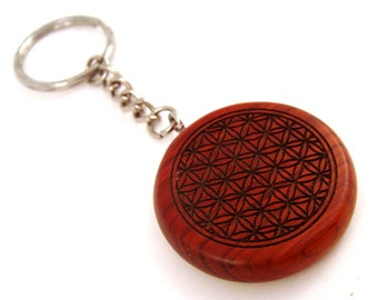 Flower of Life Rosewood Keychain - Sacred Geometry Key Chain
