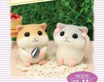 Naald vilten DIY wol voelde Kit Chubby kleine hamster: Engelse materiaal Kit