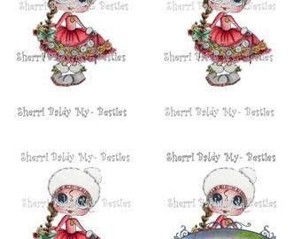 INSTANT DOWNLOAD Big Eye Big Head Dolls NEW Christmas Bestie 1 Bestie 3D Deco Color Printable Sheet My Besties By Sherri Baldy