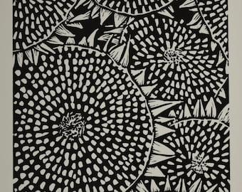 Handprinted Sunflower Linoprint