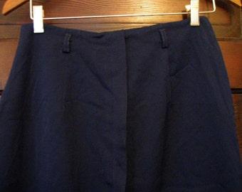 Vintage 1950s Dark Blue Wool Pencil Skirt 28w