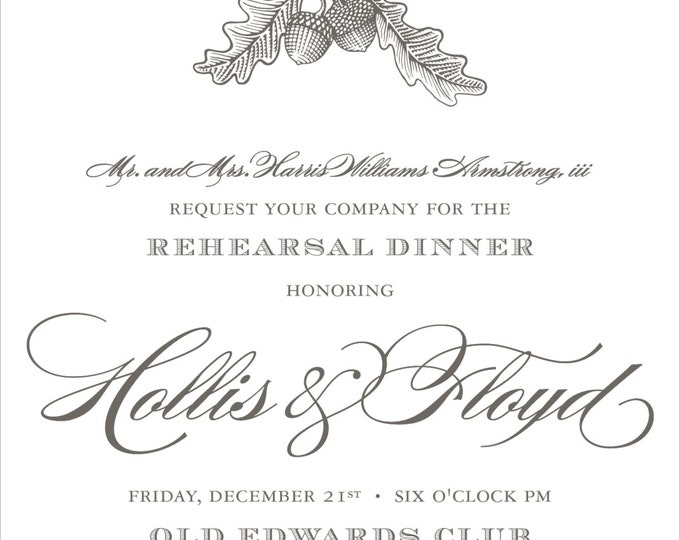 Oak & Acorn Etching | Rehearsal Dinner Invitation