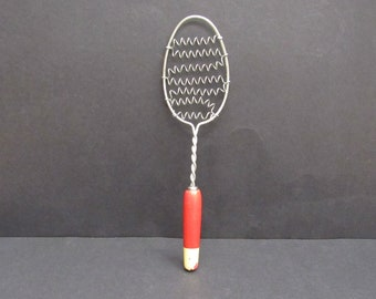 Vintage Rustic Red Wood Handled Paddle Whisk with Coil (E9838)