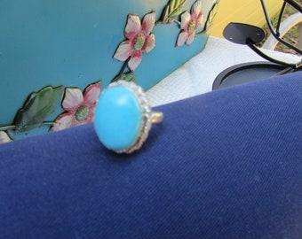 "Sleeping Beauty Turquoise Ring Size 6 1/4"" Vintage"