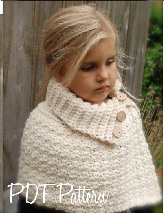 Crochet Pattern Finleigh Cape 1218 Months Toddler Child