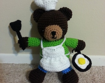 Amigurumi crochet stuffed bear chef, cooking bear