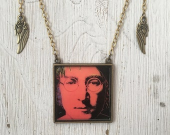 John Lennon Pendant Necklace Rock Album Cover Art Jewelry Music lover Gift for Him or Her Rocker Chic Lennon Fans Rock Star Necklace Warhol