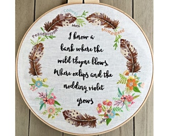 Midsummer Night's Dream Embroidered Hoop instant download pattern