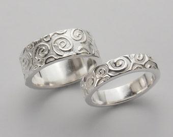Wedding Ring Set - Unique Wedding Band - Wedding Band Set - Wedding Bands - Spiral Swirl Pattern - Engraved Wedding Bands - RN 254