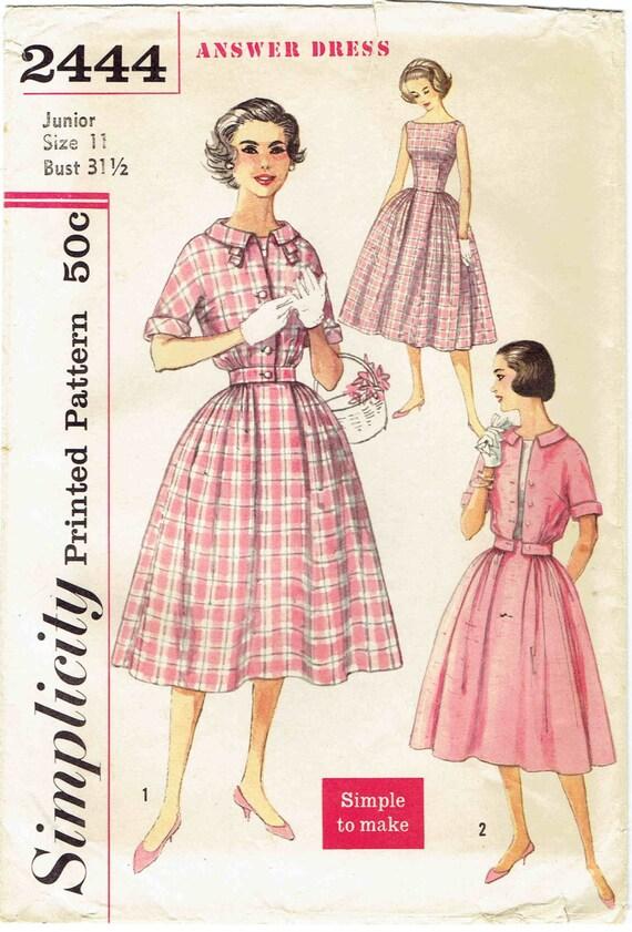 50er Jahre Bateau Hals Einfachheit Antwort Kleid Schnittmuster