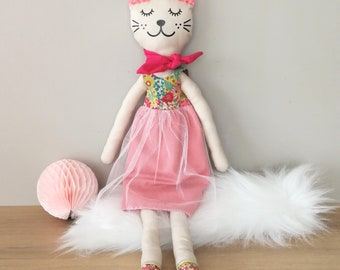 Pink tulle and LIBERTY cat doll