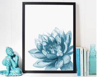 Lotus Flower Print Art, Yoga Artwork, Lotus wall Decor, Lotus Yoga Painting, Yoga Art, blue Wall Art Print, Yoga Poster, Water lily flower