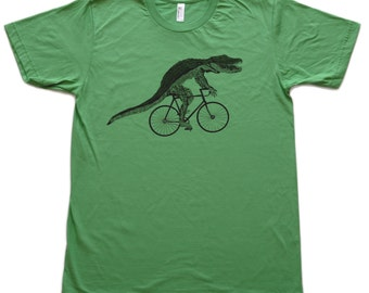 Alligator on a bicycle- Mens T Shirt, Unisex Tee, Cotton Tee, Handmade graphic tee, Bicycle shirt, Bike Tee, sizes xs-xxl