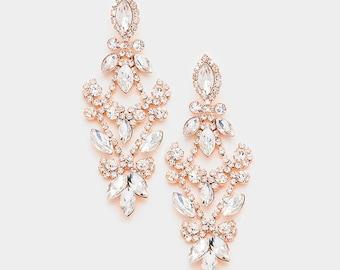 Bridal Chandelier earrings, Wedding earrings, Bridal jewelry, Wedding jewelry, crystal chandelier earrings, Rose Gold earrings