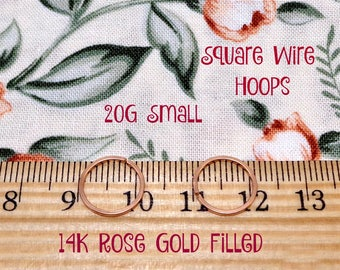 Small Rose Gold Filled 20g Square Wire Endless Hoops