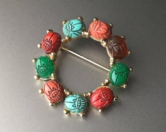 Scarab Beetle Circle Wreath Brooch - Egyptian Revival Gold Tone Pin 1950s 1960s