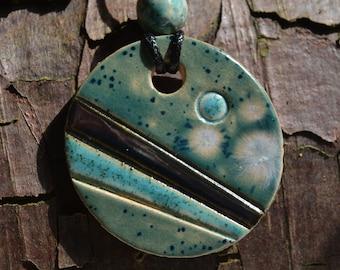Ceramic glazed pendant: handmade, turquoise, blue, sea green and metallic