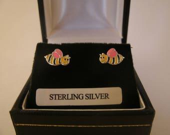 Sterling Silver Bee Wasp Earrings Enamel Ear Studs Irish Jewellery
