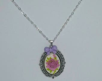 Lilac rose cameo sliver plated chain